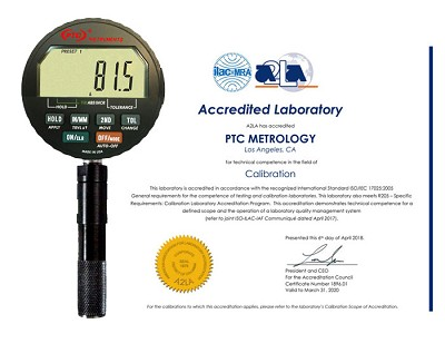 Calibration Certificate Included with durometer