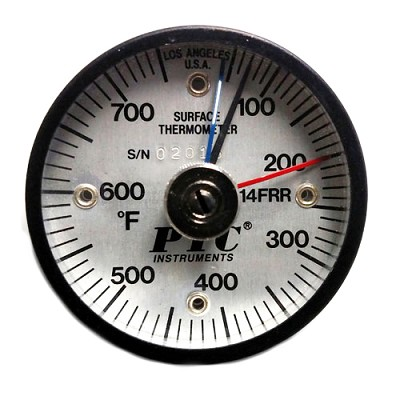 50° to 750°F Magnetic Rail Thermometer Max-Min Hands
