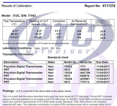 3 Point Temperature Certification